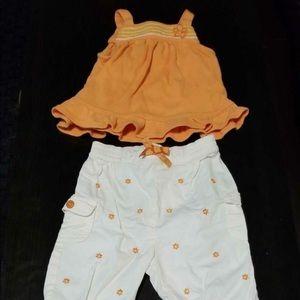 Bruin orange tank top, white Capris and shoes 6-9M